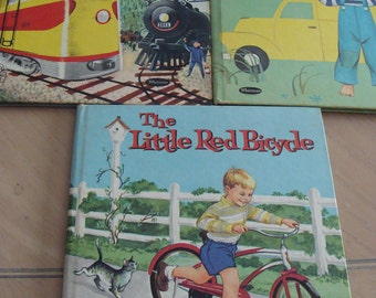 Lot of 3 Vintage Children's book Quiet Quincy and Delivery Truck, The Little Red Bicycle, Roundabout Train