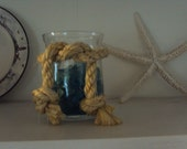 Sea Glass filled jar with Sisal nautical Rope