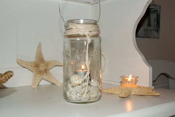 Cape May Hanging Candle Lantern Atlas Mason jar White Cape May Beach Stone T light