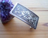 Vintage  Belt Buckle Engraved - Nickle Plated Belt Buckle