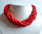 Vintage Hot Coral Red Multi Strand Beaded Necklace