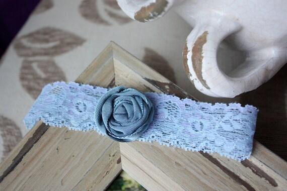 Pale Blue / Lavender Garter with Silvery Slate Blue Satin Rosette - Something Blue - Toss Garter
