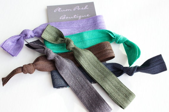 """The """"Blonde Bombshell"""" Knotted Elastic Hair Ties / Bracelets - 6 pack Tailored for Beautiful Blondes in Deep Earthy Tones"""