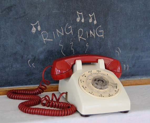 RESERVED for Angela- Vintage Red and White Bell Systems Rotary Phone