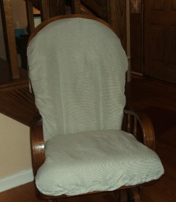 Nursery Glider Rocker SlipCover -- Covers for your cushions - New Fabric -LIGHT GREEN TWEEDY