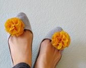 Fabric Flower Shoe Clips - Sunflower Yellow Chiffon