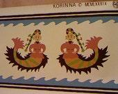 Mermaid Wall Art / Child's Room Decor / Hand Printed / Benaki Museum Athens / Whimsical Decor / Brunschwig & Fils Wall Art / Vintage Border