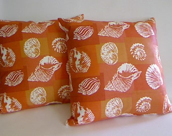 Pair of Screen Printed Throw Pillow Covers in Vintage Designer Fabric / Bright Orange / Conch and Scallops / Beach House Pillow Covers