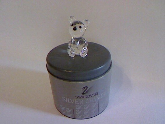 Swarovski Crystal Teddy Bear / Swan Signed Bear / Vintage Crystal Teddy Bear /