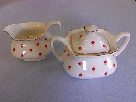Vintage Sugar Bowl and Creamer