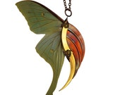 URVASHI / Luna Moth Large Gold and Copper Blade Wing Pendant / Free Shipping