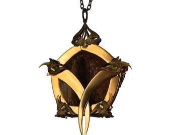NOGITSUNE / Gold Pentagon Cage Vixen Queen Medallion / Free Shipping