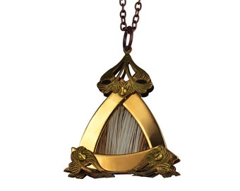 NARA / Small Gold Triangle Beige Deer King Pendant / Free Shipping