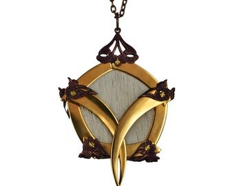 ARTEMIS / Gold Pentagon White Deer Cage Medallion / Free Shipping