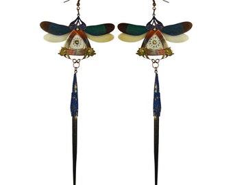YURI / Blue Dragonfly Kanzashi Long Dangle Earrings
