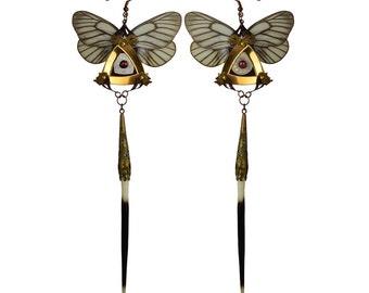 VILA / Shoulder Duster Earrings / White Aporia Butterfly Kanzashi Long Dangle Earrings