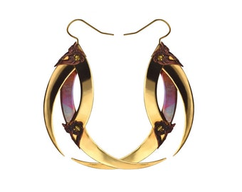 AYA / Gold and Copper Spikes Earrings / Free Shipping