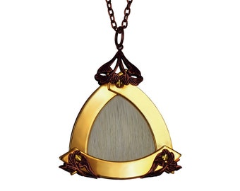 CERYNITIS / Large Gold Triangle White Deer King Pendant / Free Shipping
