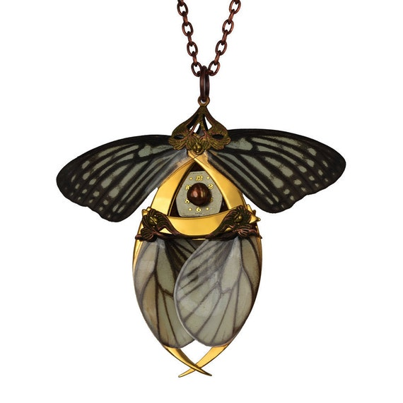 RUSALKA / Gold Butterfly Necklace with Secret Blades / Free Shipping