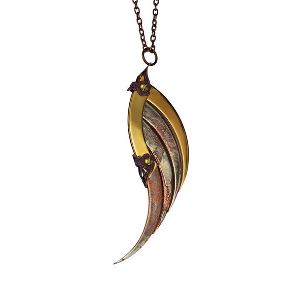 VANTH / Large Patina Blade Wing Pendant / Free Shipping