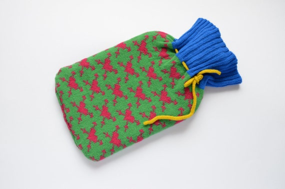 Knitted Lambswool Hot Water Bottle- Vintage Bottle Cosy-Green & Pink-Tattoo Heart Hot Water Bottle Cover-Wool Bottle Cosy- Scottish Textiles