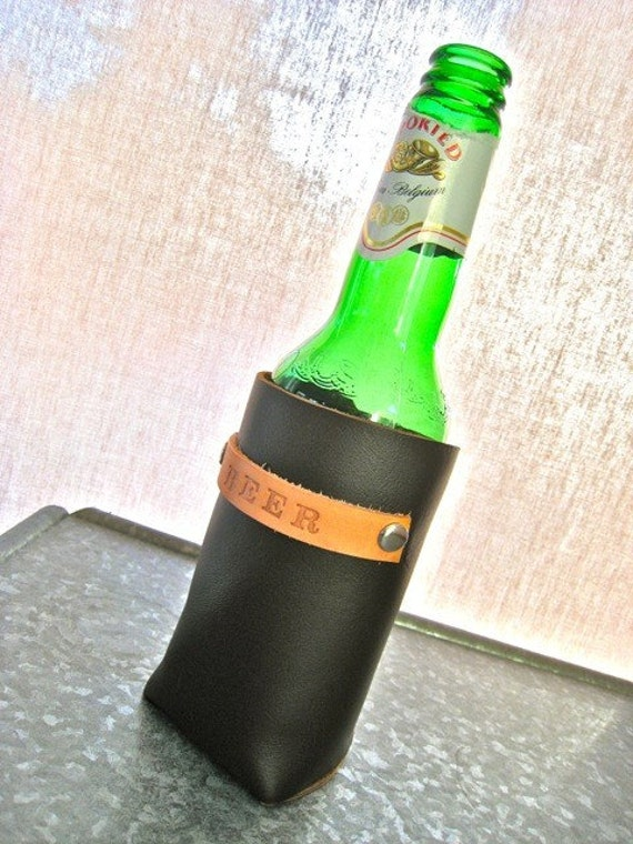 Personalized Brown Leather Beer Cozy as Seen on HGTV