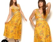 Vintage 60s Golden Yellow Floral Hippie Maxi Dress Size M Medium 6 8