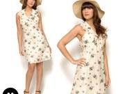 Vintage 70s Cream Blueberry Floral Print Ruffle Halter Mini Dress Size XS Small 0 2