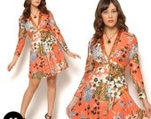 Sequin Floral Mini Dress / Vintage 70s Orange Gold Deep V / Size S Small 2 4