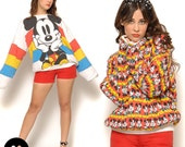 Vintage 80s Mickey Mouse Sweater / Oversize Reversible Slouchy Japan Street Fashion  / One Size Small Medium Large