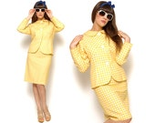 60s Suit Blazer and Pencil Skirt Yellow Gingham Two Piece Outfit Co-Ord 1960s Mad Men Jackie O / Size M Medium