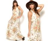 70s Sundress Floral Maxi Dress Sleeveless Deep V Halter Sundress White Butterflies Ladybugs / Boho Hippie / Size L Large 10
