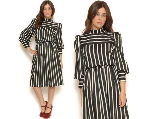 80s black and white striped secretary dress vintage midi day dress