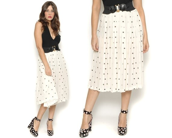 80s Polka Dot Skirt Black and White High Waisted Sheer Pleated Midi Skirt / Size S Small 4 / Retro Preppy Hipster