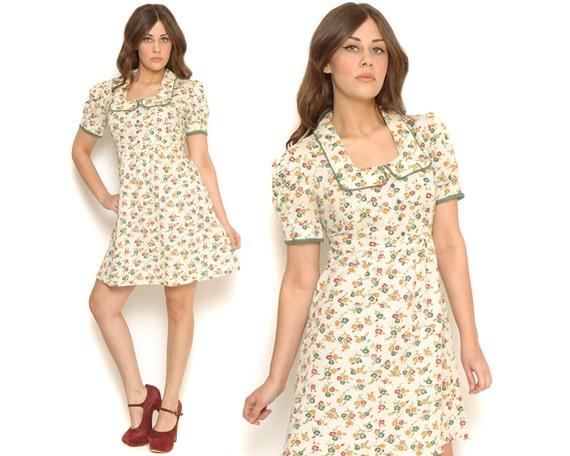 Vintage 60s Babydoll Dress Floral Puff Sleeves Mini Day Dress / Bib Peter Pan Collar / Boho Hippie Mod / Size L Large