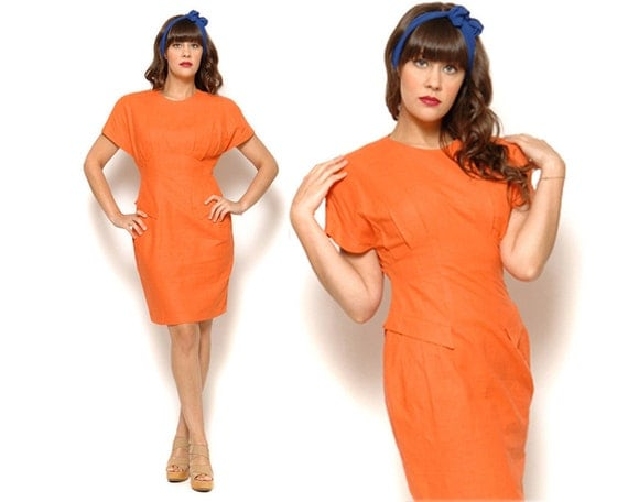 80s Orange Sheath Dress Bodycon Cap Sleeve / Size M Medium 6 8 / Tangerine Midi Dress / Hipster