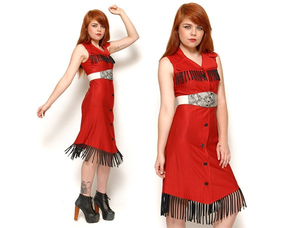 80s Red Western Fringe Dress Button Up Midi Shirtdress / Size S Small 2 4 / Vintage Glam Hipster