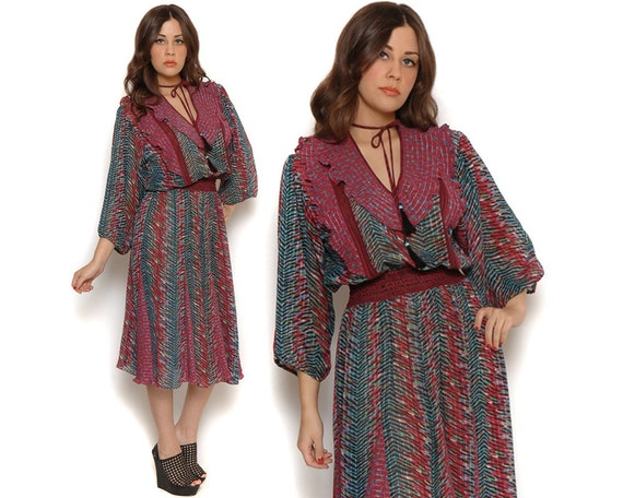 70s Boho Midi Dress Paisley Exotic Graphic Print Tassels Puff Sleeves Sheer Ruffle Day Dress / Bohemian Gypsy Hippe / One Size