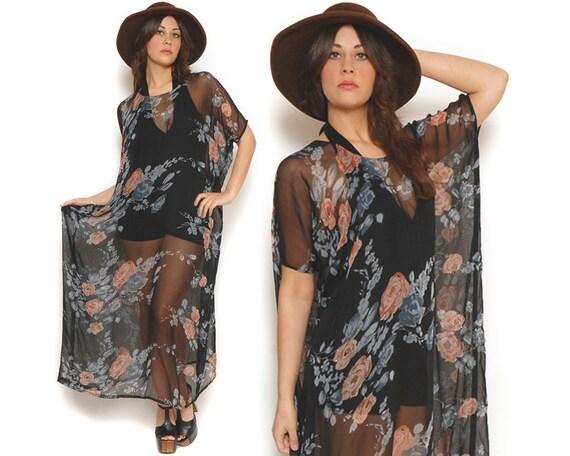 70s Maxi Dress Black Sheer Floral Caftan Cover Up Drape Dress / Hippie Boho Gypsy Festival / One Size