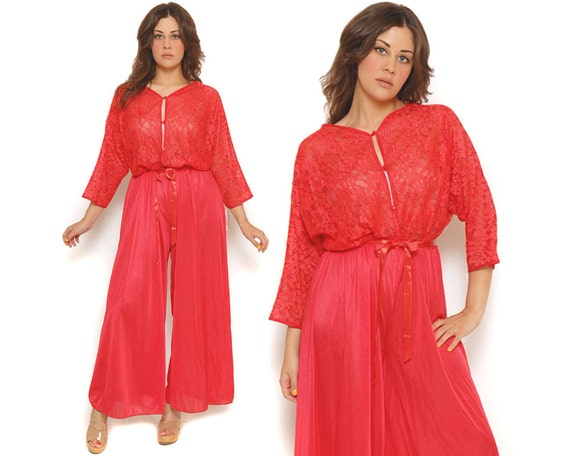 70s Lingerie Palazzo Jumpsuit Sheer Red Lace Batwing Sleeves Sexy Cover Up Loungewear Nightgown / Glam Romantic / One Size