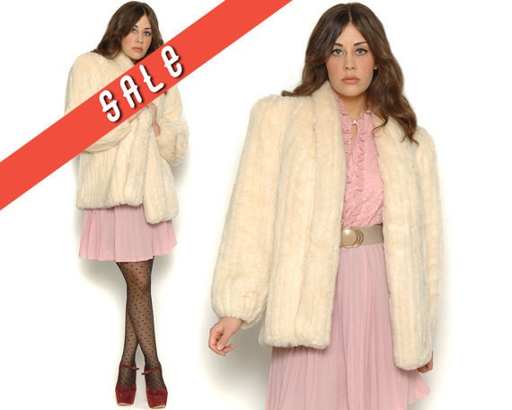 Vintage 80s Cream Faux Fur Coat / Vegan Mink Cozy Warm / Glam Rock N Roll / Size S M Small Medium