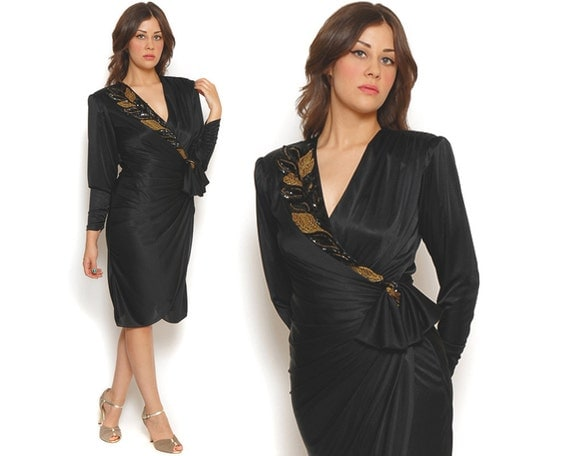 80s Party Dress Black Gold Sequin Beads Leaves Bow Drape Deep V Wrap Strong Shoulders Cocktail Dress / Glam Hipster / Size M Medium