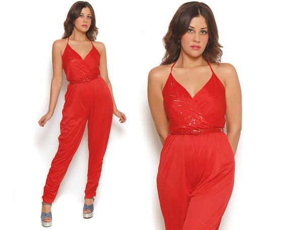 80s Harem Jumpsuit Red Silver Glitter Peg Leg Ruched Wrap Sleeveless Disco Playsuit 4th of July / Hipster Glam / Size M Medium