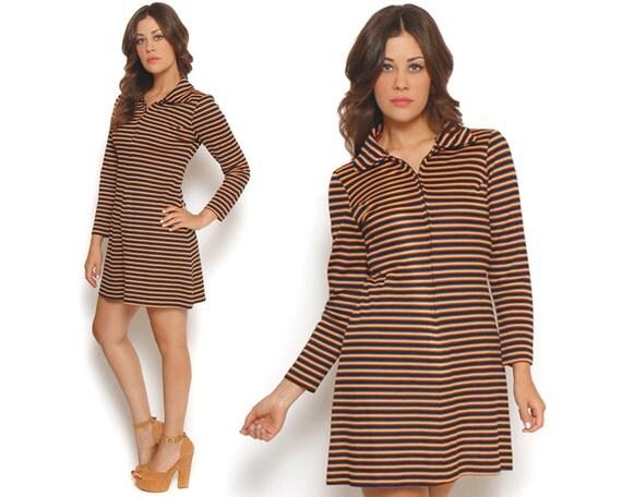 Mod Striped Dress 70s Pointed Collar Long Sleeve Shirt Dress Black Rainbow Stripes Zip Up Mini Shift Dress / Hipster Twiggy / Size M Medium