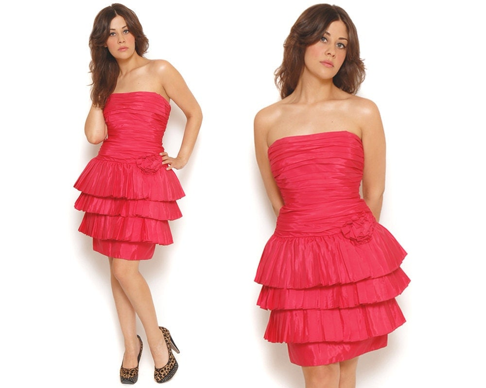 80s Prom Dress Magenta Pink Ruffle Pleated Cupcake Party Dress | 1000 x 800 jpeg 72kB