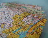 Map envelopes with notecard - New York and New Jersey