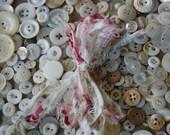 shabby roses tattered fabric ribbon binding 3.5 feet