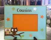 Cousins Custom Hand Painted Owl Picture Frame