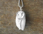 Sculpted Owl Jewelry - SALE Necklace Pendant Scandinavian Spotted Snow Bird Nature Artisan Bohemian Winter Gift for Woman