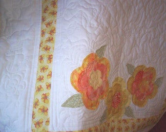 Yellow English Rose Baby Quilt
